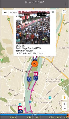 Képernyő a 33. Telekom Vivicittá bsi.raceinfo.hu alkalmazásból